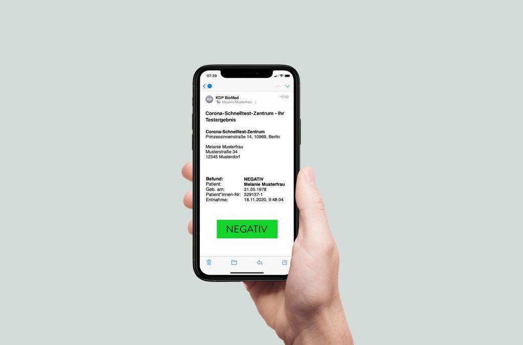 Corona Test Berlin Testergebnis aufs Handy